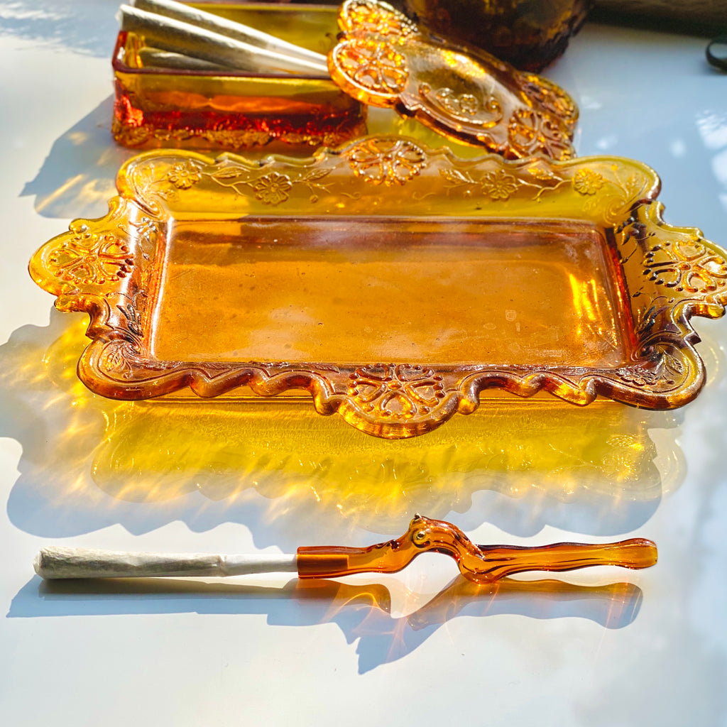 3pc Amber Rolling Tray Set + Lady J Holder