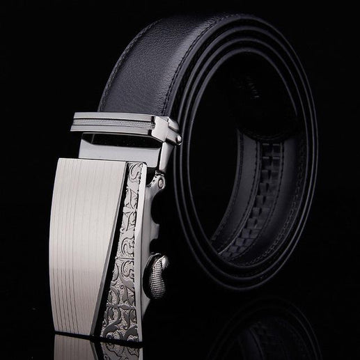 Black Leather Belts For Men-Belts-Online GMall-Belt 17-110cm-Online GMall