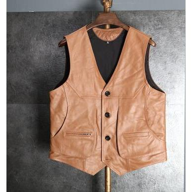 Brown Leather Vest-Vest-Online GMall-Light brown-XL-Online GMall