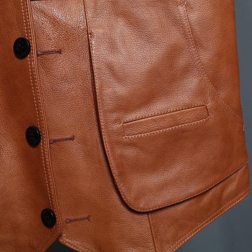 Brown Leather Vest-Vest-Online GMall-Red brown-XL-Online GMall