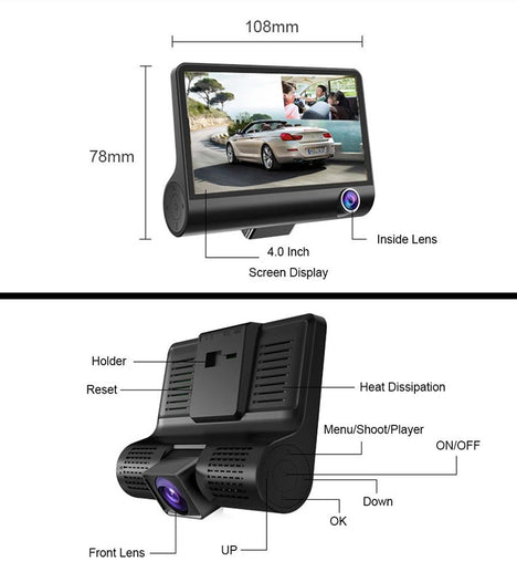 Car Dvr 3 Camera Lens-DVR Camera-Online GMall-With Rearview Camara-China-With 16G Card-Online GMall