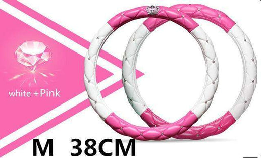 Car Steering Wheel Cover-Steeering cover-Online GMall-pink white 38cm-Online GMall