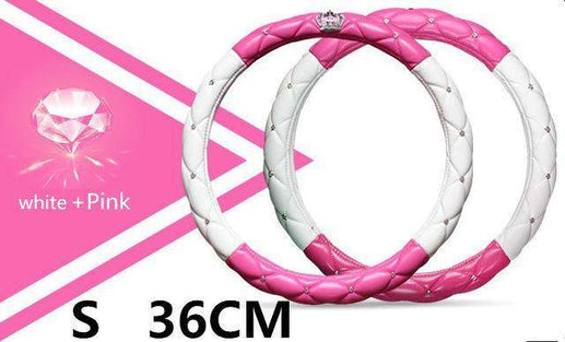 Car Steering Wheel Cover-Steeering cover-Online GMall-pink white 36cm-Online GMall