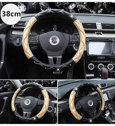 Car Steering Wheel Cover-Steeering cover-Online GMall-gold black 38cm-Online GMall