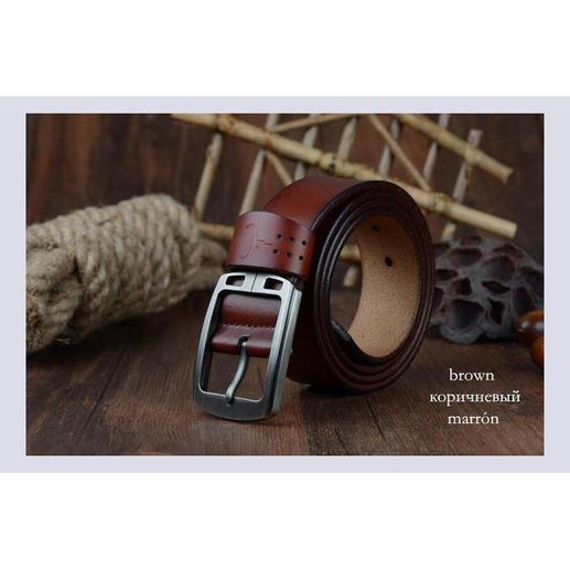 Genuine Leather Belts For Men-Belt-Online GMall-XF001 brown-100cm-Online GMall