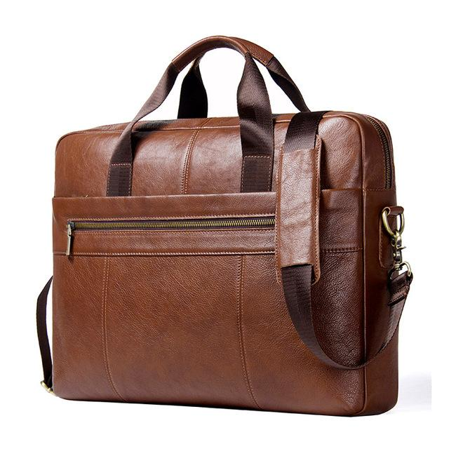 Genuine Leather Men's Briefcase-Genuine Leather-Online GMall-brown-China-Online GMall