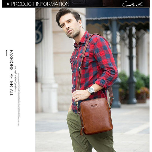 Genuine Leather Shoulder Bag for Men-Messenger Bag-Online GMall-Brown-China-Online GMall