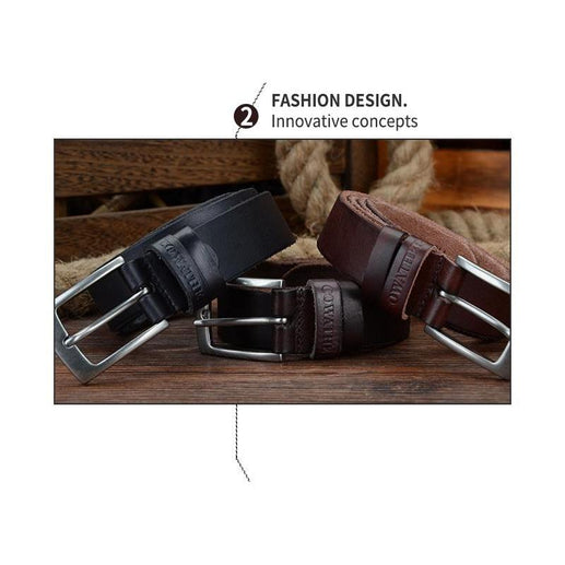 Leather Belts For Men-Genuine Leather-Online GMall-XF018 black-100cm-Online GMall