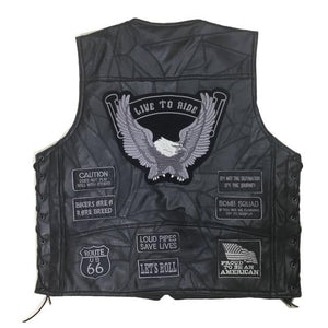 Men's Best Motorcycle Vest-Vest-Online GMall-14 Patches Grey-L-Online GMall