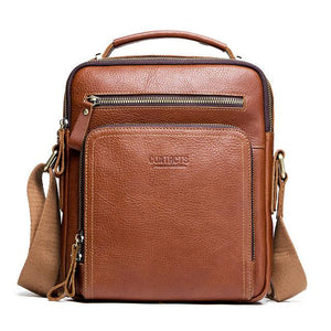 Men's Genuine leather Bag-Messenger Bag-Online GMall-brown-China-Online GMall