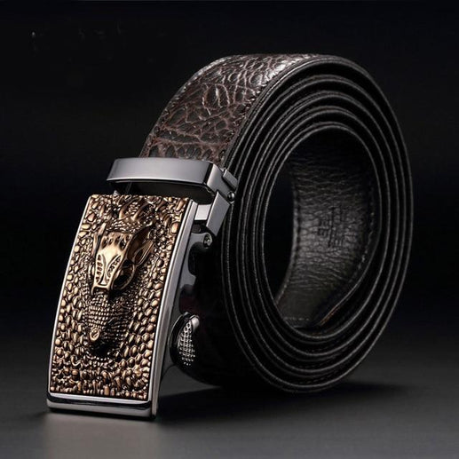Men's Genuine Leather Crocodile Belt-Men's Belt-Online GMall-1-120cm-Online GMall