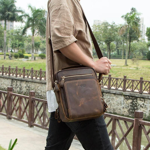 Men's Genuine Leather Hand Bag-Bag-Online GMall-black-China-Online GMall