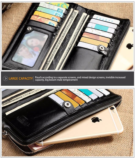 Men's Genuine Leather Long Wallet-Leather Wallet-Online GMall-M1003-China-Online GMall