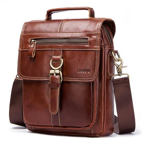Men's Messenger Bag-Genuine Leather Bag-Online GMall-Brown-China-Online GMall
