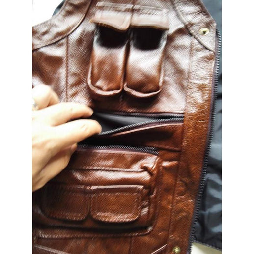 Men's Genuine Leather Vest-Vest-Online GMall-ginger-XL-Online GMall