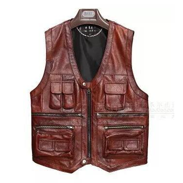 Men's Genuine Leather Vest-Vest-Online GMall-Deep red-XL-Online GMall