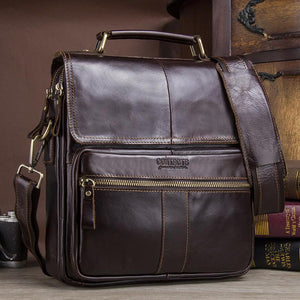 Men's Soft Leather Bags-Messenger Bag-Online GMall-coffee-China-Online GMall