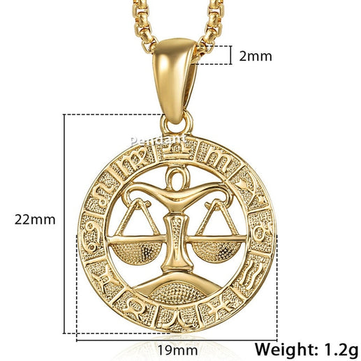 Zodiac Sign Gold Pendant Necklace