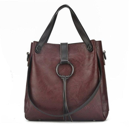 Soft Genuine Leather Shoulder Bag For Women-Shoulder Bag-Online GMall-Dark brown-28 x 12 x 28 cm-Online GMall