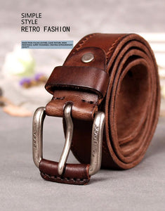 Vintage Leather Belt for Men-Leather Belt-Online GMall-Black-95cm-Online GMall