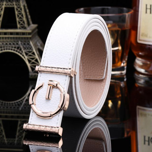 Women's Genuine Leather Belt G Buckle-Leather Belt-Online GMall-white-120cm-Online GMall