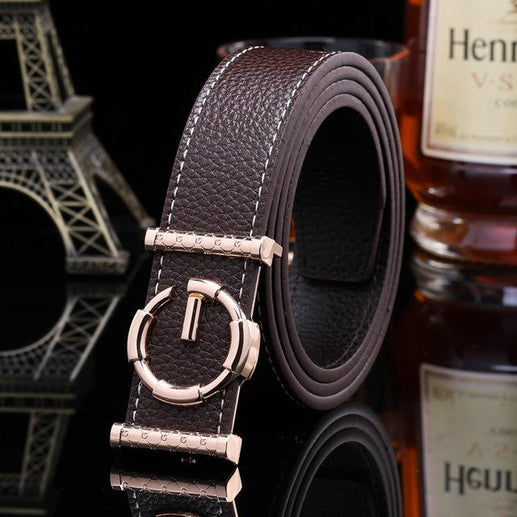 Women's Genuine Leather Belt G Buckle-Leather Belt-Online GMall-coffee-120cm-Online GMall