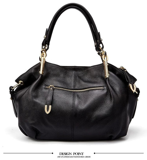 Women's Genuine Leather Handbag-Handbag-Online GMall-8136 black-China-(30cm<Max Length<50cm)-Online GMall