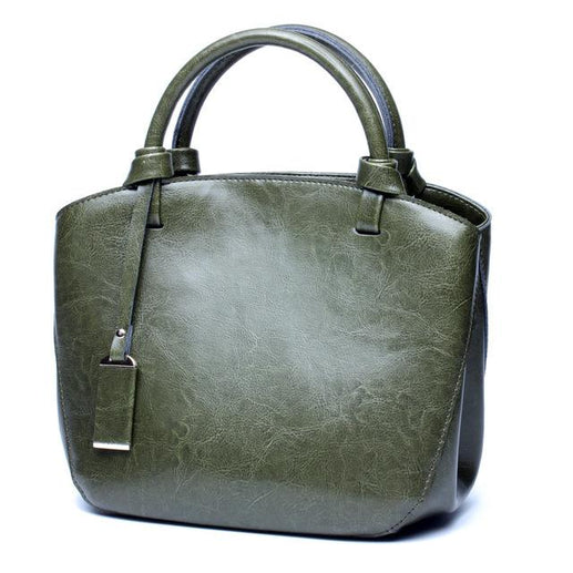 Women's Genuine Leather Handbag-Bag-Online GMall-army green handbag-China-23cm-Online GMall