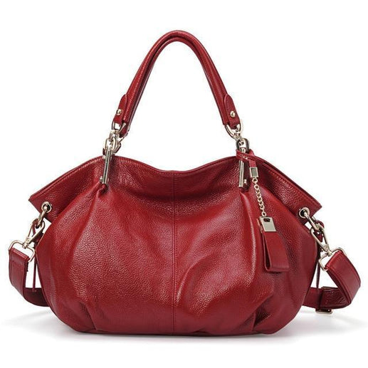 Women's Genuine Leather Handbag-Handbag-Online GMall-8136 burgundy-China-(30cm<Max Length<50cm)-Online GMall