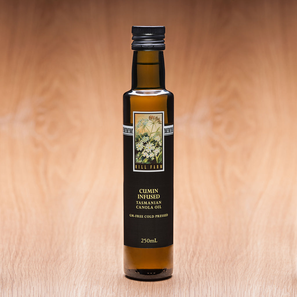 250ml bottle of cumin infused cold pressed canola oil