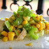 chicken corn and celery salad drizzled with lemon infused canola oil