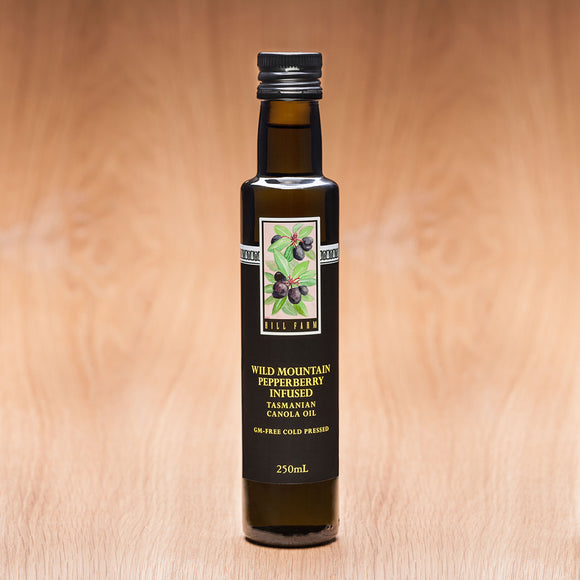 250g bottle of 100% Tasmanian Pepperberry-infused Cold Pressed Canola Oil