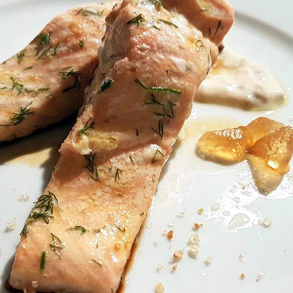 Salmon Fillet With Yoghurt And Mustard Dressing