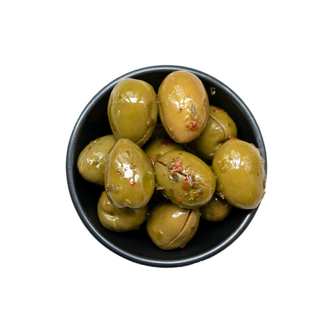 Gioconda olives with garlic, capers, chilly, and oregano