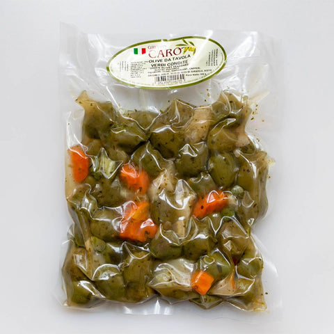 Gioconda olives with vegetables, capers, oregano, and garlic