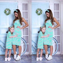 MásqRopa~~2019 Mom and Me Striped Dress Mother Daughter Sundress Summer Sleeveless Family Matching Dresses Outfit