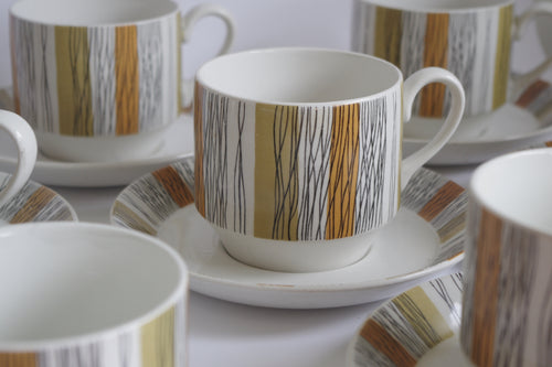 MIDWINTER SIENNA COFFEE CUPS / SAUCERS x 6