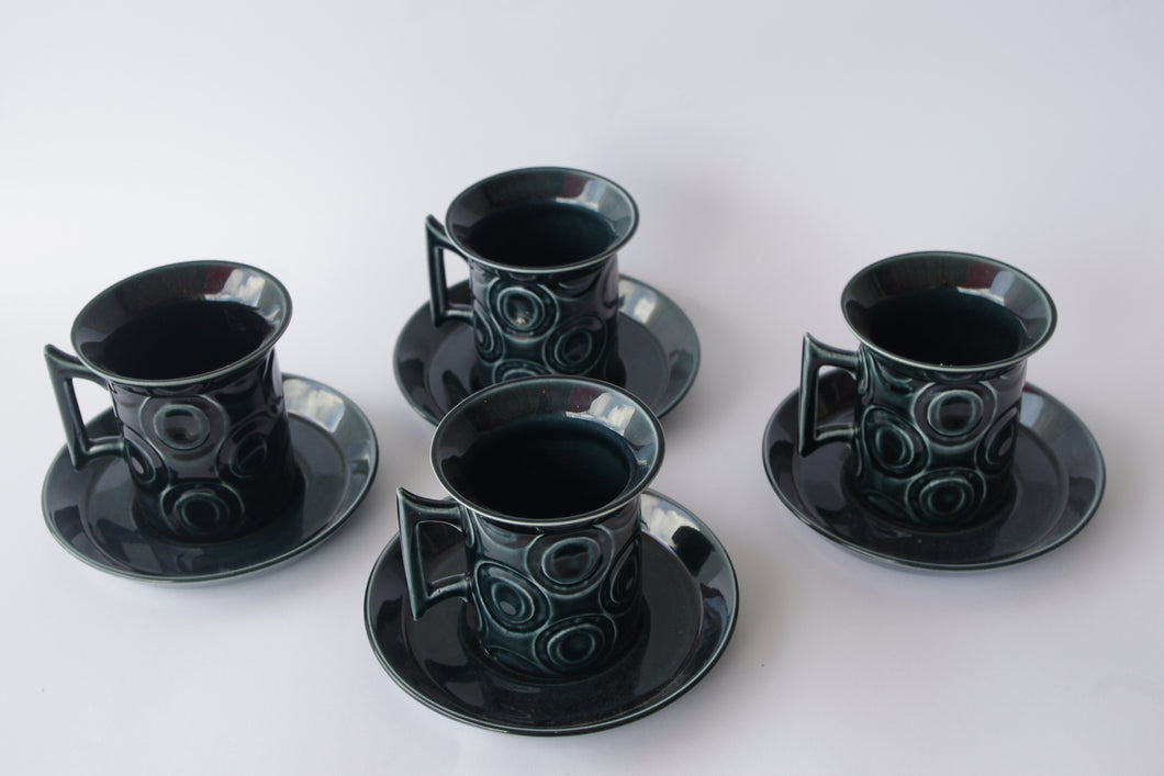 PORTMEIRION JUPITER COFFEE CUPS AND SAUCERS