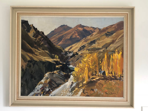 Douglas Babcock, New Zealand artist, Skippers Canyon, oil painting