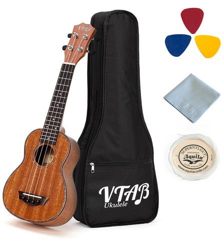 VTAB High Gloss Full Mahogany Ukuleles with Gig-Bag