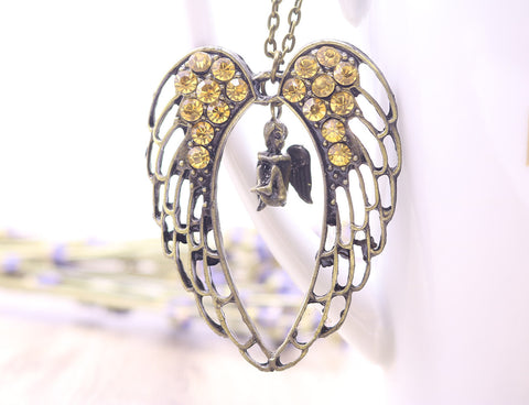 Vintage Antique Bronze Metal Long Chain Angel Pendant Necklace