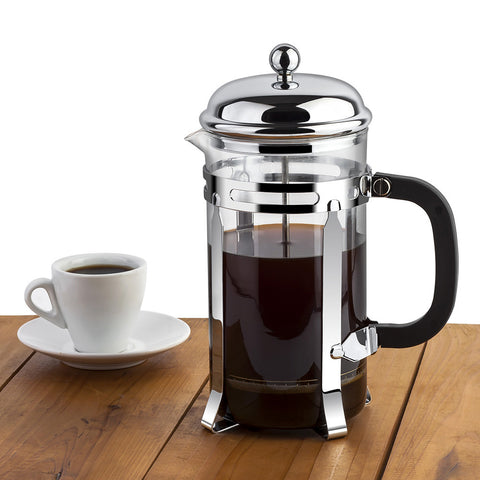 MeiVie Coffee&Tea Maker, French Press in Chrome with Scoop(1000ml, 34oz, 8 cups)