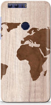Wood Map Designer Case For Huawei Honor 8