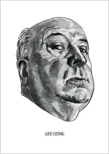 Alfred Hitchcock portrait poster print