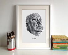 Alfred Hitchcock portrait poster print in a frame