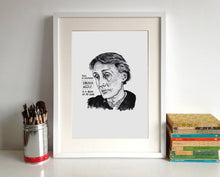 Virginia Woolf Portrait Poster Print in a frame