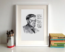 Jean-Paul Sartre Portrait Poster Print in a frame