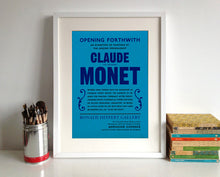 Claude Monet Exhibition Announcement Poster Print in a frame