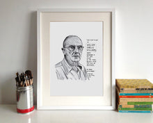 William Carlos Williams Portrait Poster Print in a frame