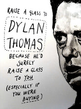 Dylan Thomas Portrait Poster Print in close-up